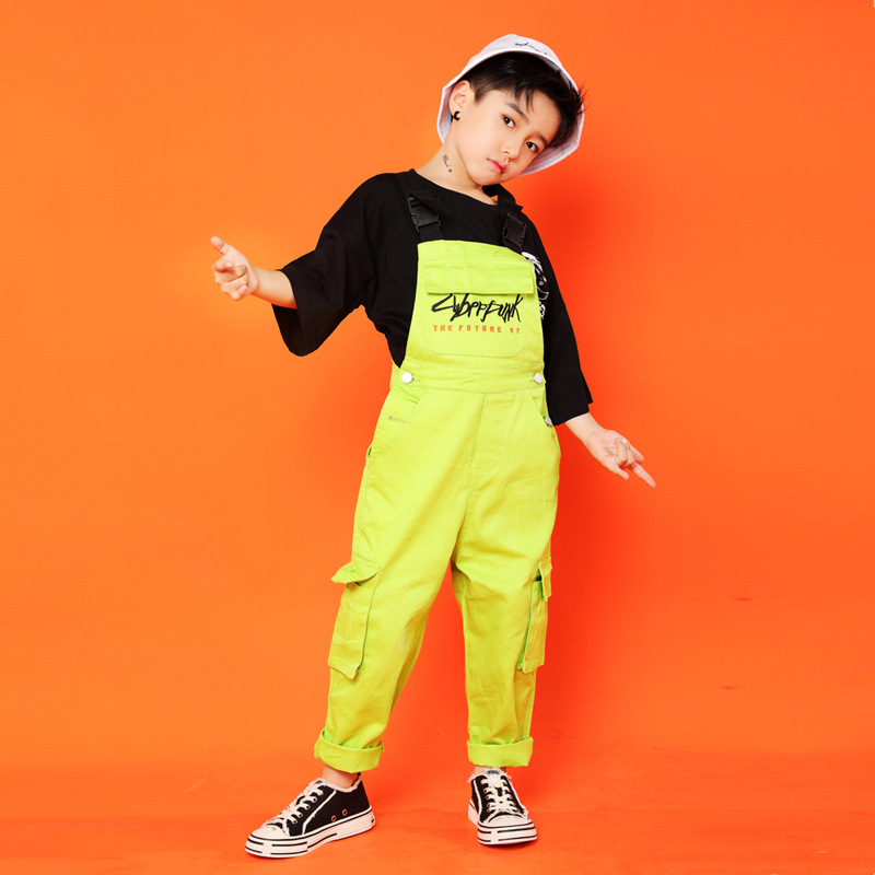 Kid Hip Hop Clothing Black Casual T Shirt Tops Loose Bib Pants For Girls Boys Jazz Dance Costumes Ballroom Dancing Clothes Wear