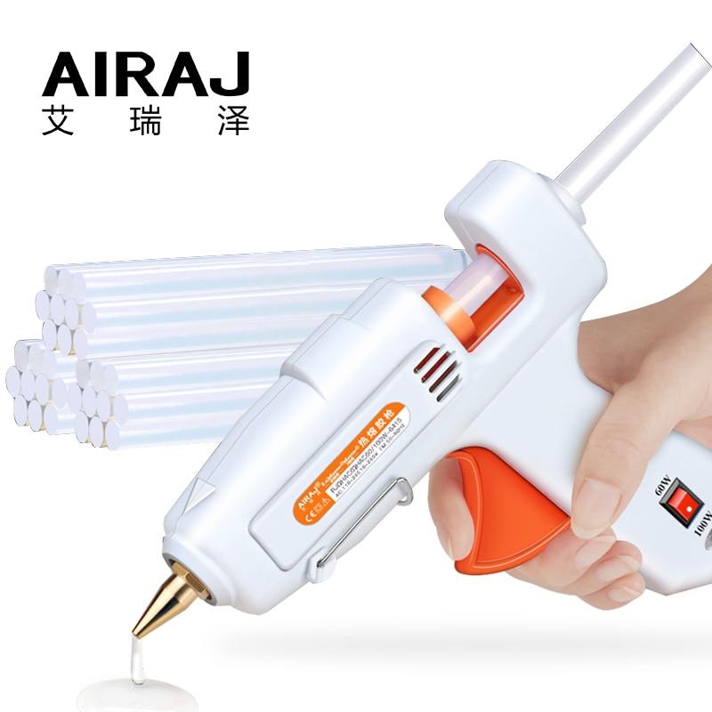 AIRAJ Hot Melt Glue Gun 50W/80W/60-100W/120W With 5/10 Glue Stick And EU Conversion Head High Power Heating Bonding Tool