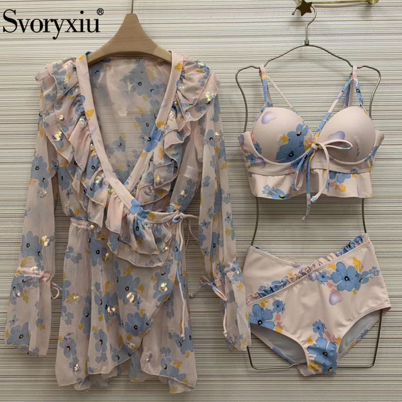Svoryxiu Designer Summer Sexy Swimsuit Three Pieces Set Women's High Waist Bikini + Sun Protection Cloak Ladies Beach Sets