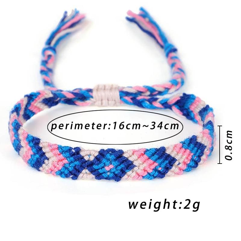 Fehame Bohemia Style Weave Rope Friendship Bracelets For Woman Men Cotton Handmade Charm Bracelet & Bangles Ethnic Jewelry Gifts
