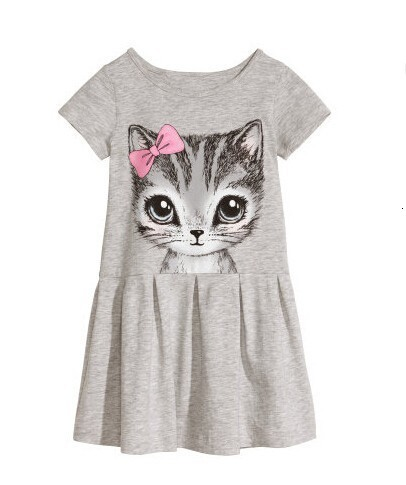 Kids Dresses Girls 2017 New Fashion Sweater Cotton Flower Shirt Short Summer T-shirt Vest Big For Maotou Beach Party Dress