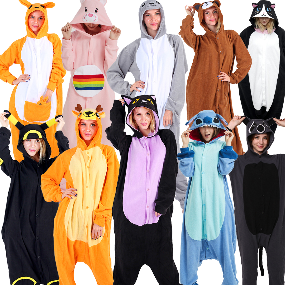35 Adults Animal Pajamas Women Sleepwear Onesies Pyjama Animal Suits Cosplay Midnight Cat Deer Stitch Wolf Lion Pijamas