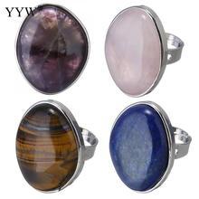Anillo de piedra para hombres y mujeres anillo de dedo de moda Natural piedra joyería de fiesta de boda plano ovalado Color plata anillos Vintage para hombres