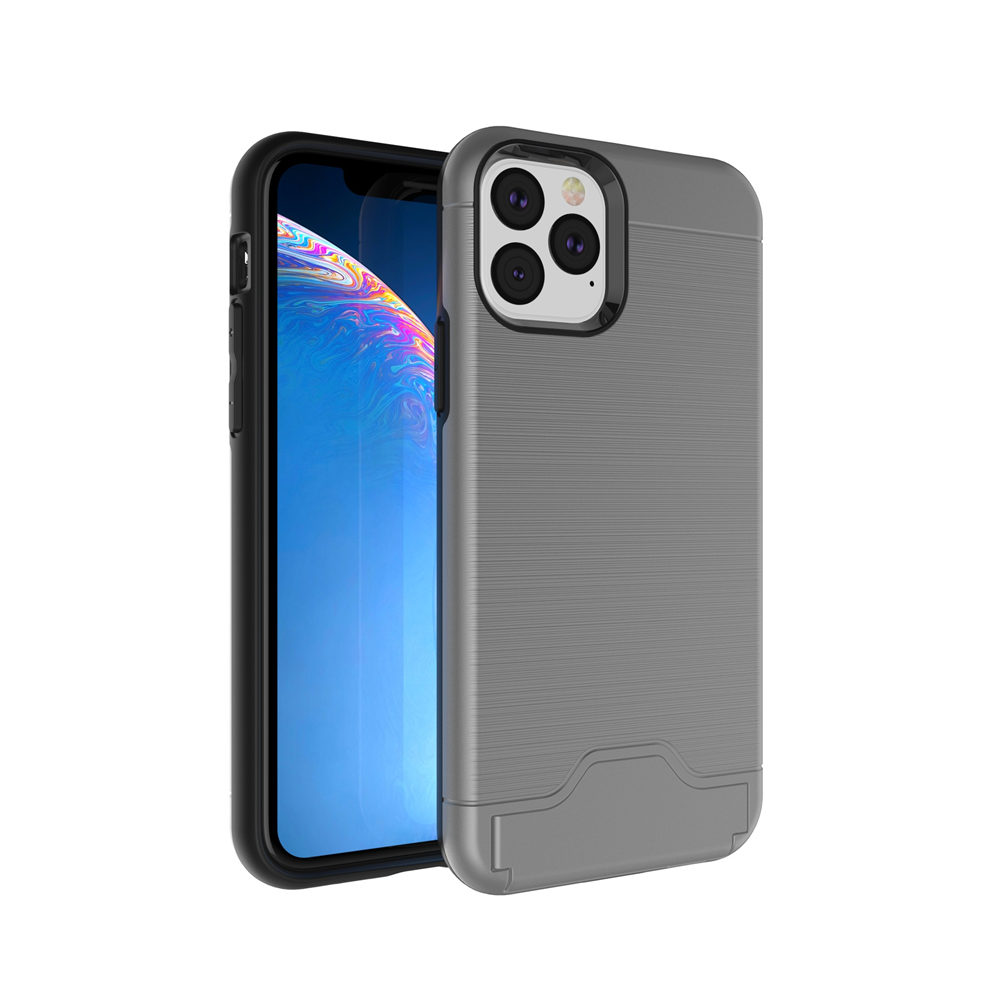 Brushed Armor Card Holder Case for iPhone 11/11 Pro/11 Pro Max 12