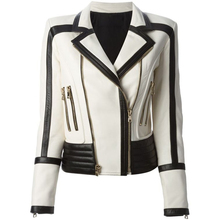 Motorcycle-Jacket Color-Block Synthetic-Leather Designer Women's Black White Fashion