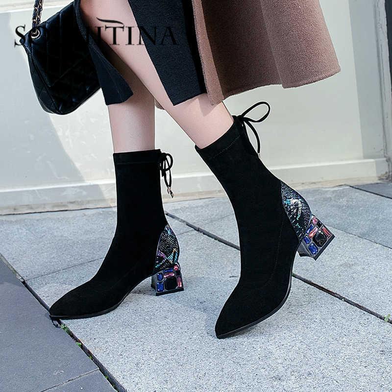 SOPHITINA moda akın kadın çizmeler dantel kadar orta buzağı yeni tasarım renkli yüksek topuk parti bayanlar ayakkabı sıcak zarif botlar MO413