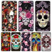 Phone Case For Meizu M6 M6S M6T M5 M5C M5S M3 M3S M2 Case Silicone Skull Rose Skeleton Back Cover For Meizu M6 M5 M3 M2 Note(China)