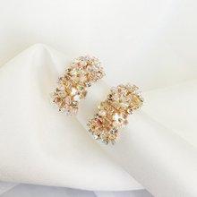 MENGJIQIAO-pendientes de aro con diseño de arco para mujer, aretes, aros, diseño geométrico, Concha, flor brillante