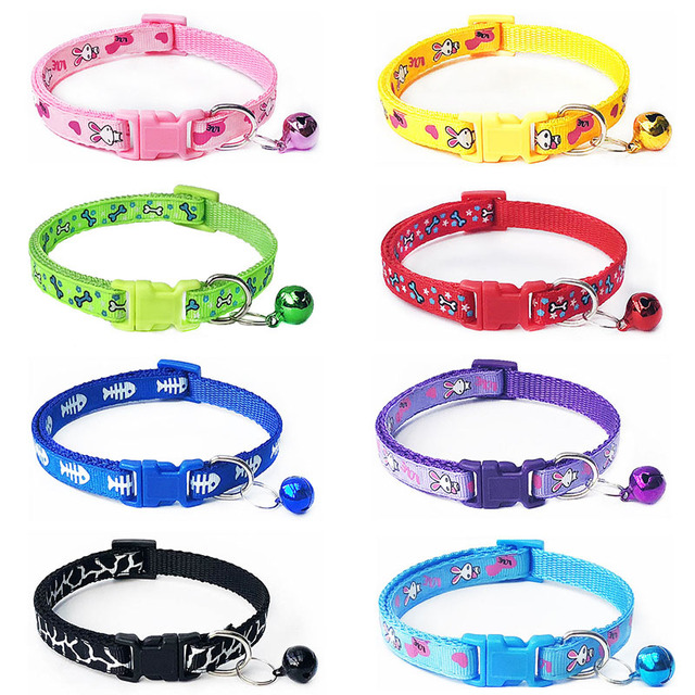 Cartoon Dog Cat Collars With Bell Adjustable Polyester Buckle Collar Cat Pet Supplies Accessories Collar Small Dog Chihuahua 1