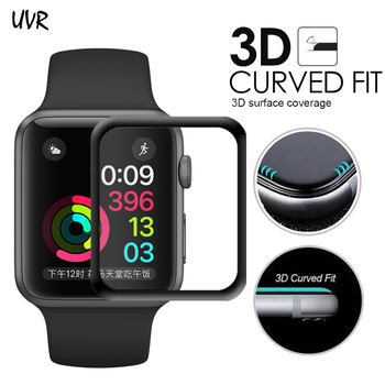 For iWatch Plating Tempered Glass For Apple Watch 38mm 42mm 40mm 44mm Series 5 4 Full Cover 3D Curved Edge Screen Protector Film