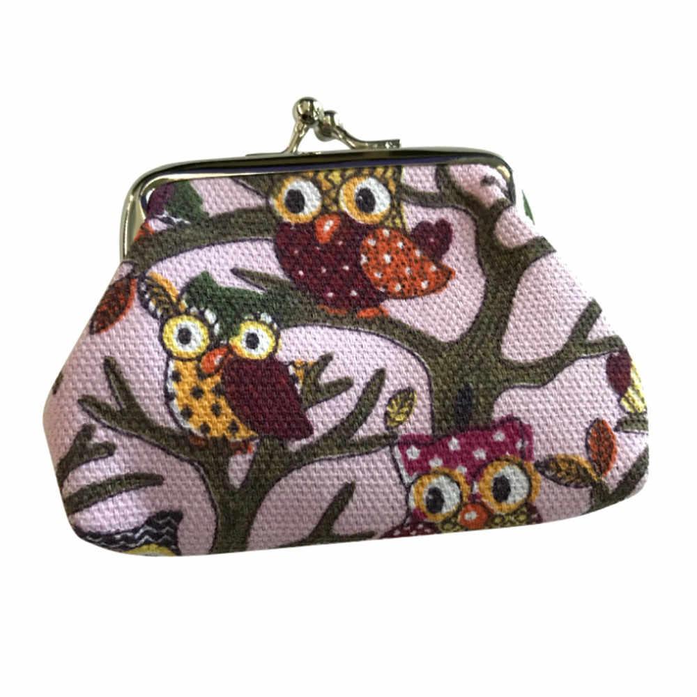 Moda mujer monedero bonito estilo cartera señora pequeña moneda cartera cerrojo bolso de búho bolso de embrague para mujer cartera estilo Clutch para mujer