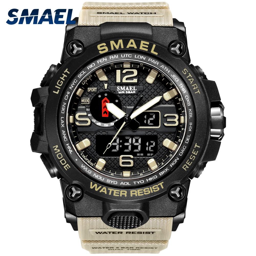 Men Military Watch 50m Waterproof Wristwatch LED Quartz Clock Sport Watch Male relogios masculino 1545 Sport Watch Men S Shock 1