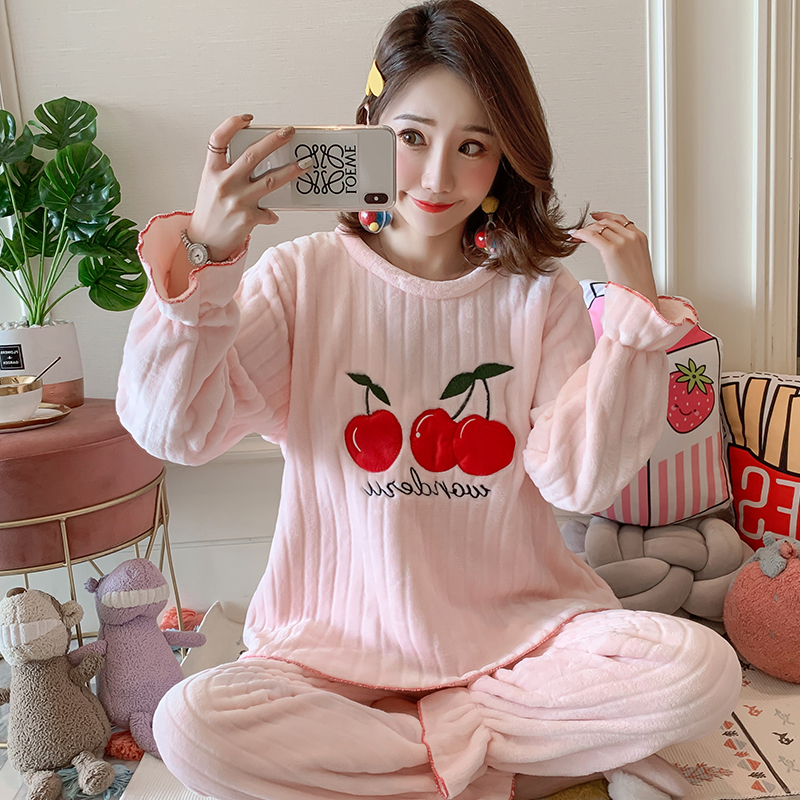 12 Style Winter Pit  Flannel Pajamas For Women Long Pant Warm Velvet Women's Long Sleeve Suit Casual Home Wear Cloth Pink Color