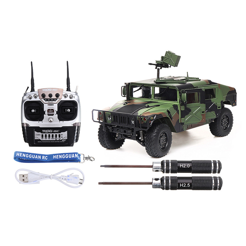 RC Car HG P408 30km/h 16CH 4WD 1/10 Functional RC Car U.S.4X4 Military Control Vehicle Model Truck without Battery Charger