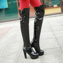 AIWEIYi Woman Thigh High Boots Black Red Over The Knee Boots High Heels Knee High Boots Patent Leather Nightclub Dancing Boots cheap Over-the-Knee Shallow Solid 20190929 Adult Square heel Motorcycle boots Fleeces Round Toe Winter Polyurethane Rubber Super High (8cm-up)