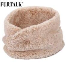 FURTALK Winter Scarf Women Faux Fur Scarf Winter Warm Neck Scarf for Female Black Pink White Color Fur Scarves
