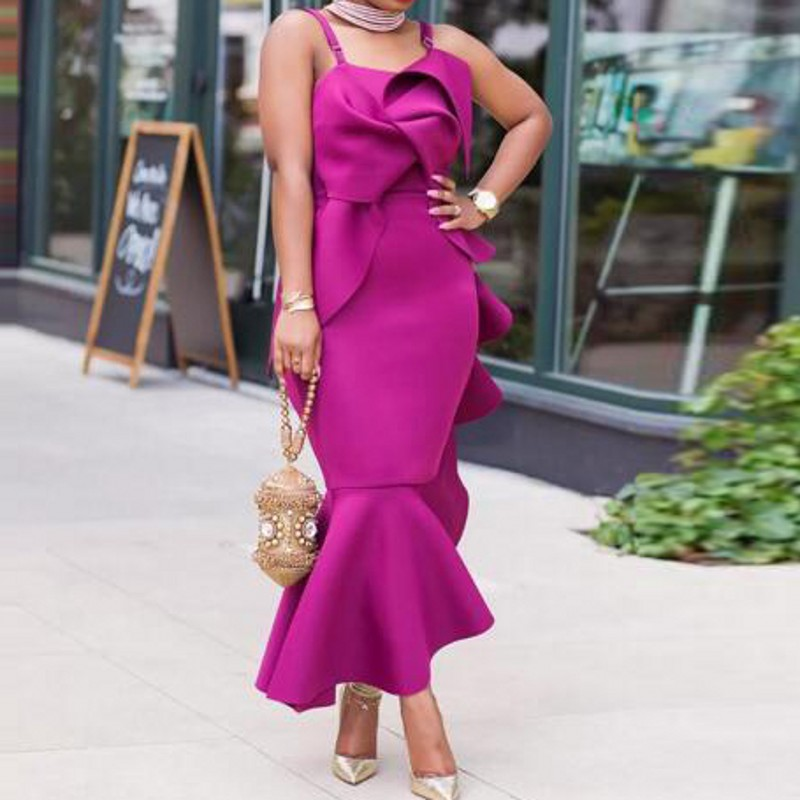 Fuchsia Formal Evening Dress Peplum Abiye Ankle Length Evening Dresses Customized Robe De Soiree Abendkleider Vestido De Festa