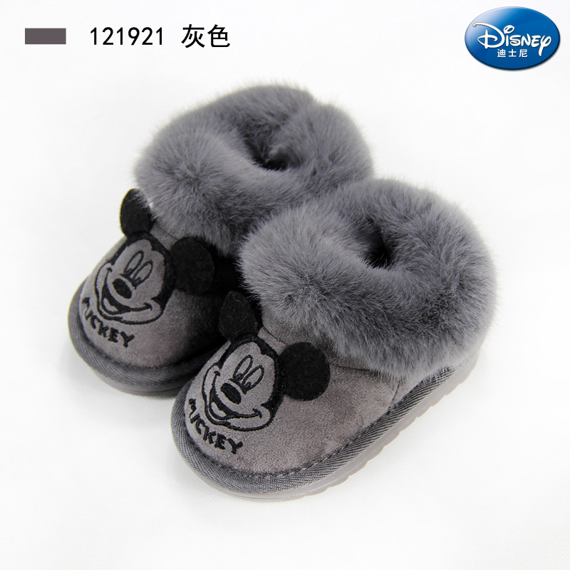 Disney Children's Cotton Shoes 2019 New Winter Warm Baby Shoes Plus Fluffy Mouth Children Snow Boots Mickey Mouse