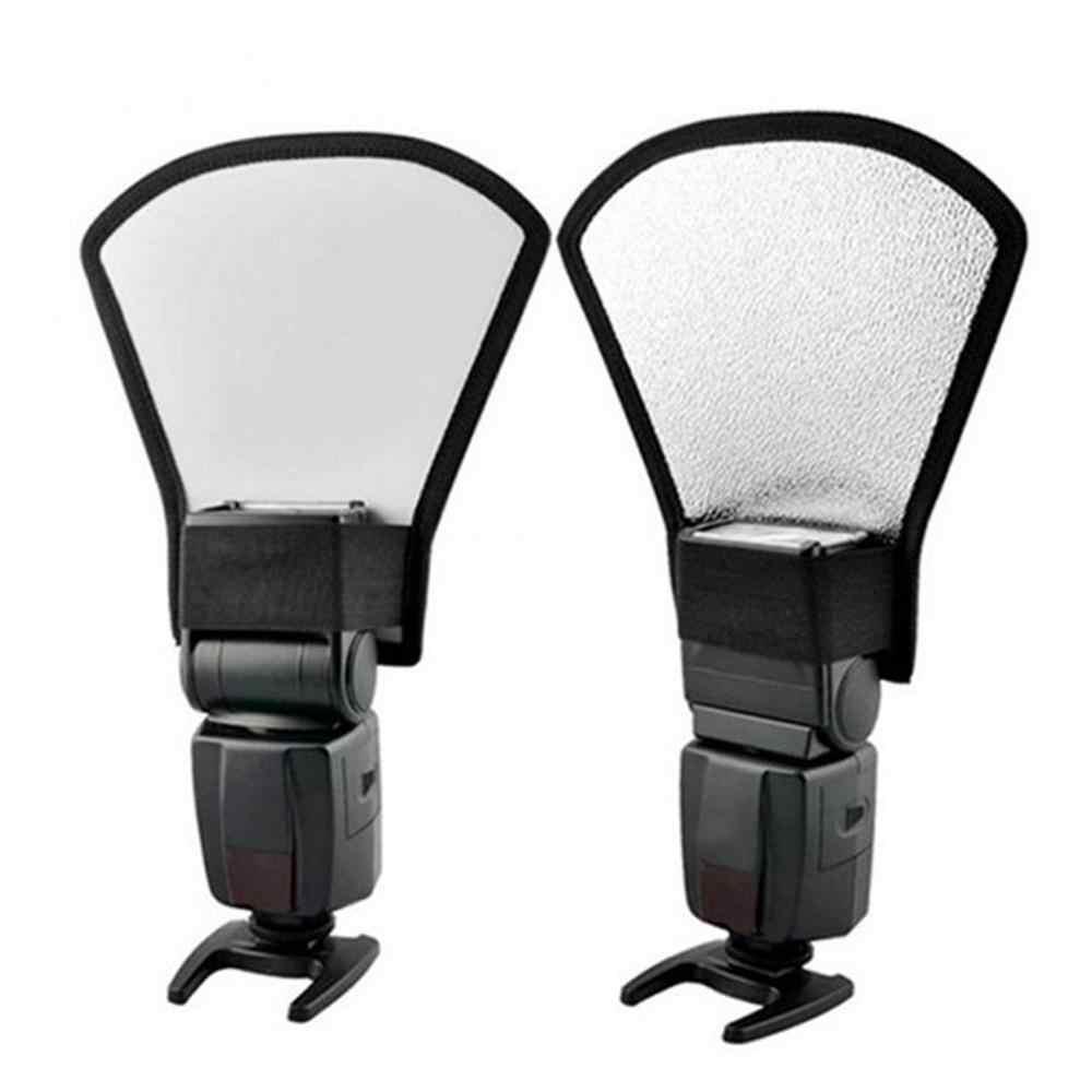 العالمي DSLR فلاش كاميرا Speedlite الناشر الفضة/أبيض عاكس مجلس سوفتبوكس لينة ضوء لالتقاط الصور