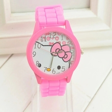 Hello Kitty cartoon children's watch Korean Edition KT cat jelly color girl
