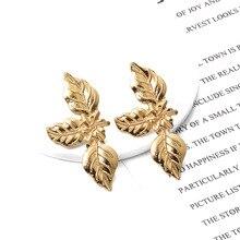 ZA New Metal Shape Leaf Drop Earrings Statement Trend Pendientes Bijoux For Women Girls Party Gift Jewelry