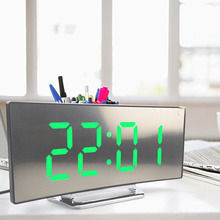Alarm-Clock Lcd-Display Curved-Mirror Digital Home-Decorate Large LED with Snooze of