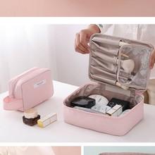 Women's Solid Color Cosmetic Bag Square Storage Bag Toiletry Portable Travel Business Storage Bag Make up Makeup Organizer Bag все цены