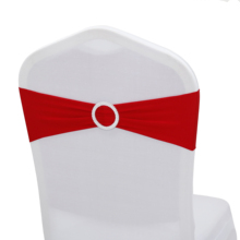 1pcs Colored with Round Buckle Decor Lycra Spandex Chair Band Sash for Wedding Event