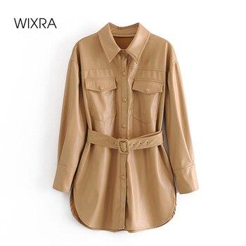 Chaquetas Wixra de piel sintética para mujer, fajas, abrigo de PU con cuello vuelto, chaqueta sólida con terciopelo, calle alta, otoño, primavera