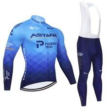 2021 astana equipe de manga longa camisa ciclismo calças da bicicleta definir homens inverno ropa ciclismo velo térmico maillot culotte