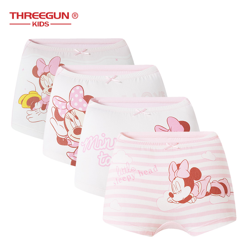 THREEGUN X Disney Mickey Mouse Children Kids Girls Underwear Cotton Panties Teenager Boxers Teenager Briefs 4pcs/Lot
