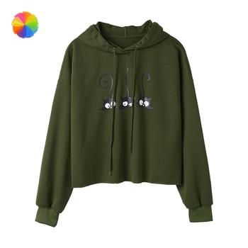 цена на Women Cat Print Long Sleeve Hoodie Sweatshirt Hooded Pullover Tops Hoodies Sweatshirts XBFF
