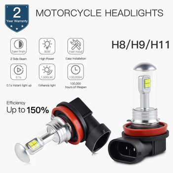 цена на 2pcs H8/H9/H11 LED Motorcycle Headlight 12V Bulb For Honda CB 600 F Hornet 1998-2015 For Suzuki GSX-R 1000 2001-2016
