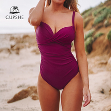 CUPSHE Sexy Berry Red Ruched One Piece Swimsuit Women Solid Push Up Bathing Suits 2020 Girl Beach Monokini Swimwear