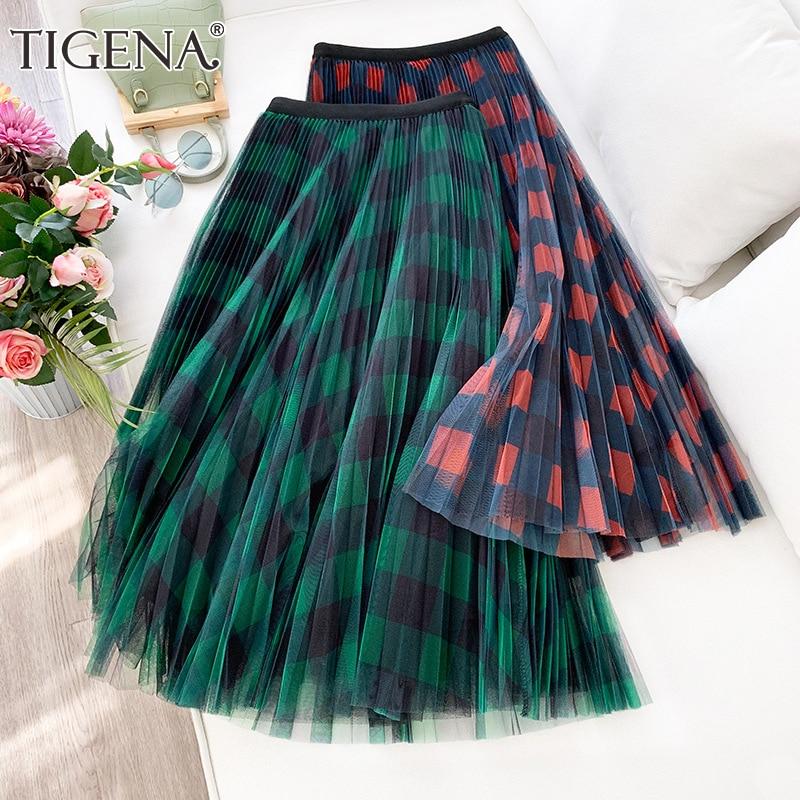 TIGENA Green Red Long Plaid Tutu Tulle Skirt Women Fashion 2020 New Elegant A Line High Waist Pleated Maxi Skirt Female Ladies