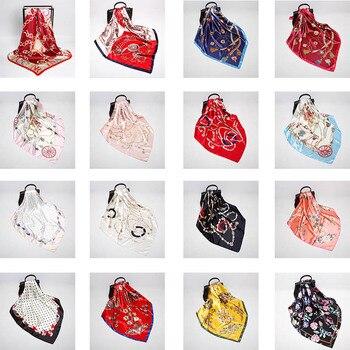 цена High Quality 65 Colour Women's Silk Scarf 90cm Satin Large Square cycle chain Towel Metal Tassel Silk Scarves Head Scarf Poncho онлайн в 2017 году