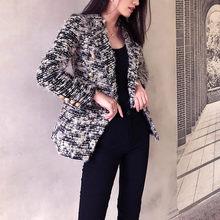 Plaid Woolen Blazer Femme Korean Short Women's Tweed Jacket Autumn and Winter Do