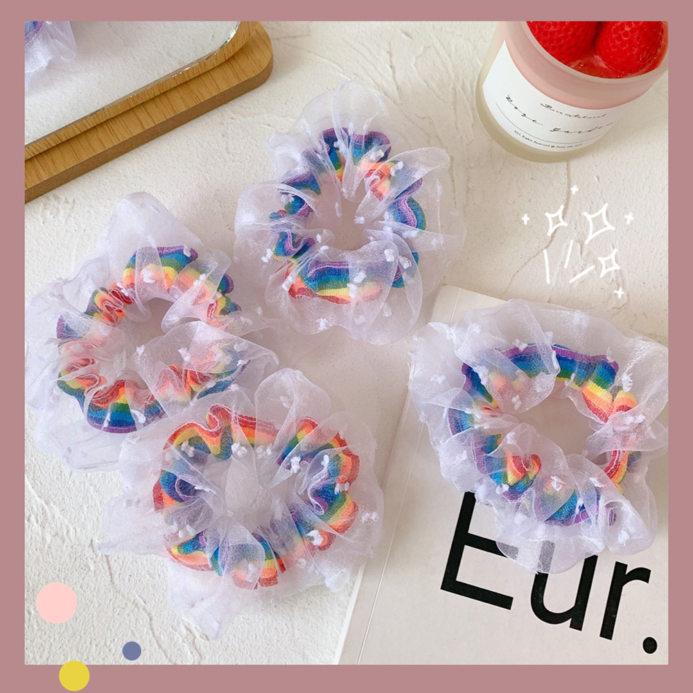 Rubber Band Rope Elastic Girls Scrunchies Ponytail Holder Rainbow Thin Mesh Hair Rope Hair Bands Ties Accessories
