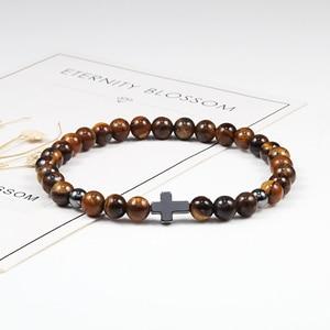 Image 3 - Hot 6MM Natural Stone Beads Prayer Bracelet Meditation Hematite Cross Jesus Bracelets Bangles For Men Women Jewelry Gift Pulsera