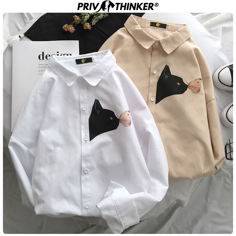 Privathinker Men New Summer Street-style Shirts 2020 Men Harajuku Long Sleeve Hip Hop Clothes Male Printed Fashions Shirts Tops