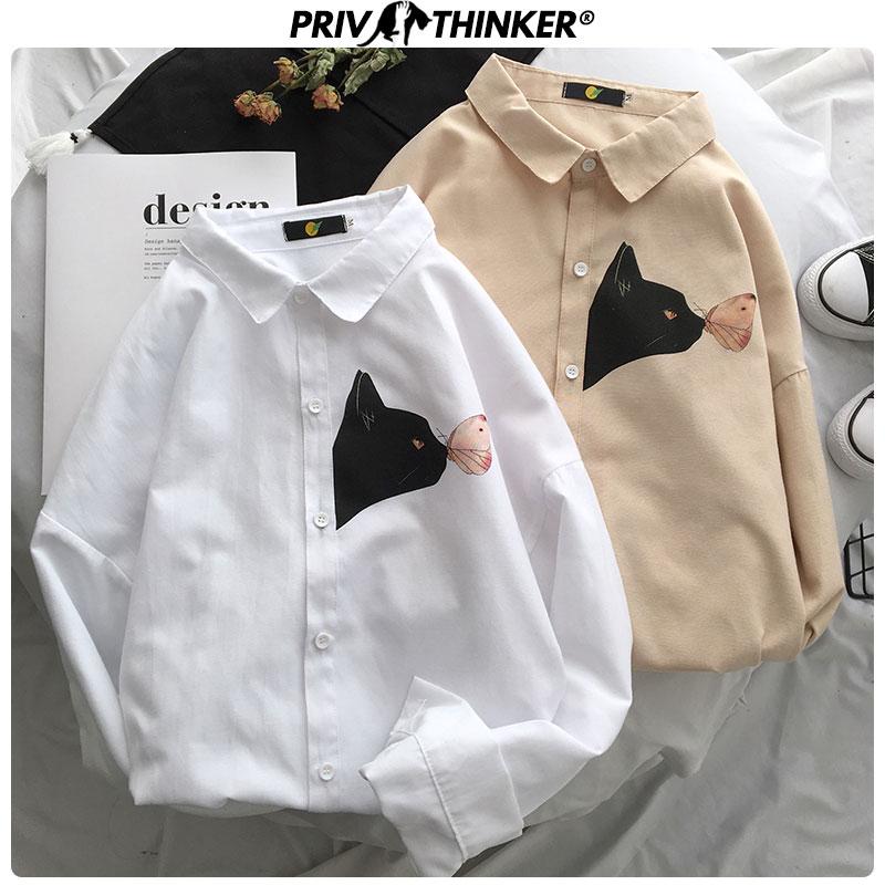 Privathinker Men New Summer Street-style Shirts 2020 Men Harajuku Long Sleeve Hip Hop Clothes Male Printed Fashions Shirts Tops
