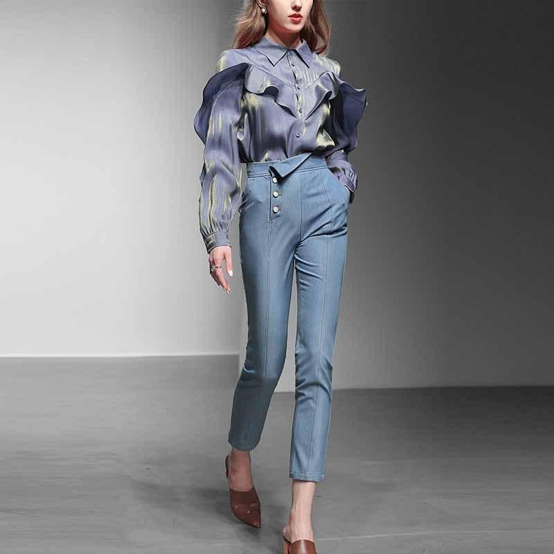 2019 New Style WOMEN'S Dress Graceful Elegant Casual Two-Piece Set Fashion Fashion Shirt Jeans Pants Set