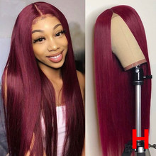 Pure 99J 13x6 Lace Front Human Hair Wigs Women Straight Burg