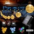 8 режимов солнечный светильник с хрустальным шаром 5M/7M/12M/гирлянды светодиодные светильник s Фея светильник с цветочной гирляндой для рождес...