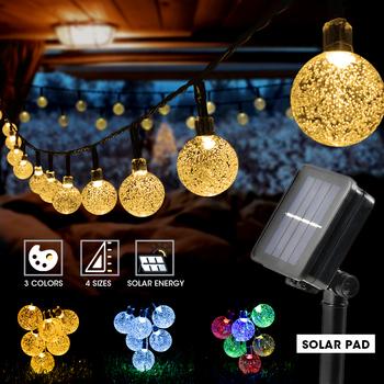 8 trybów lampa słoneczna Crystal ball 5M 7M 12M girlanda żarówkowa LED Lights lampki girlandy na świąteczne przyjęcie dekoracja zewnętrzna tanie i dobre opinie NoEnName_Null CN (pochodzenie) 8 Modes Solar String Light Crystal ball 20-100leds IP65 Żarówki LED ART DECO HOLIDAY Ni-mh