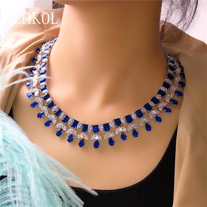 ZAKOL Sparkling Clear Water Drop Cubic Zirconia Earrings Necklace Jewelry Sets For Elegant Bridal Wedding Dinner Dress FSSP390