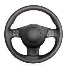יד תפור שחור PU פו עור מותאם אישית רכב הגה כיסוי עבור מושב ליאון (MK2 1P) איביזה (6L) Altea XL 2007 2009