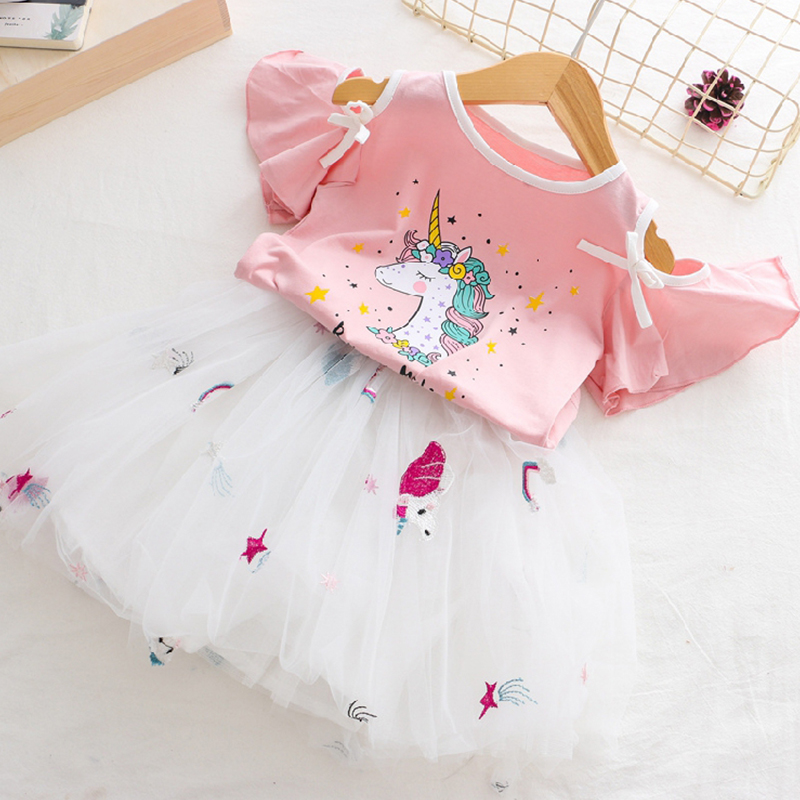 2019 Fashion Unicorn Dress for Girls Children's Clothes Kids Lace Dresses Baby Girls Costume Summer Sleeveless Princess Dress 3