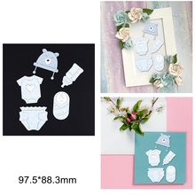 Little Baby Clothes Diaper Bear Hat Bottle Metal Cutting Dies DIY Scrapbook Craft Decorate Cards New Stencils 2020 Make Cards cute baby clothes bow lace leather belt button metal cutting dies diy scrapbook craft new stencils make cards embossing paper