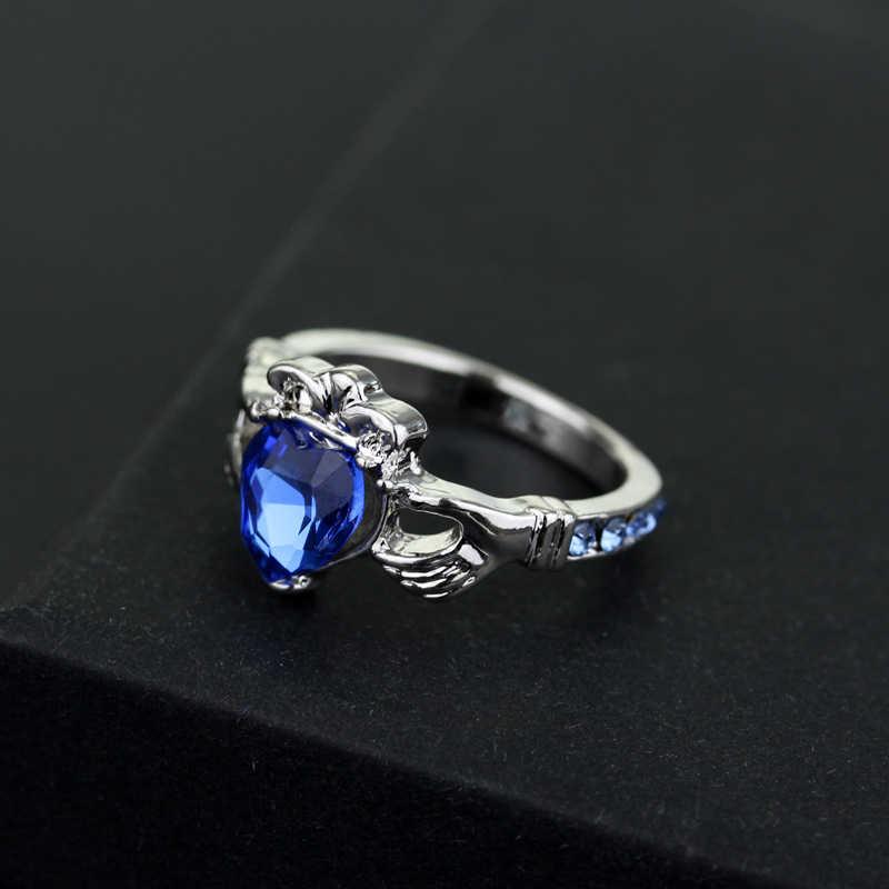 Blue Sapphire แหวนเพชรสำหรับผู้ชายผู้หญิง Jaune Amethyst Diamante Obsidian หยกแหวน FM19